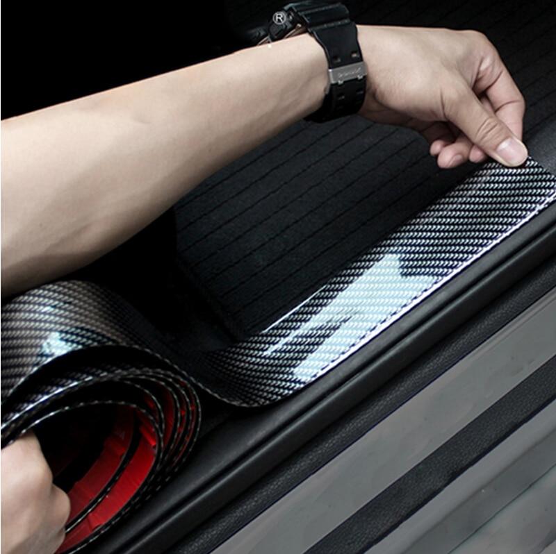 Углеродное волокно резиновый автомобильный Стайлинг порога протектор для Honda Civic Accord CRV Fit Renault Peugeot 307 206 407 308 406 Citroen