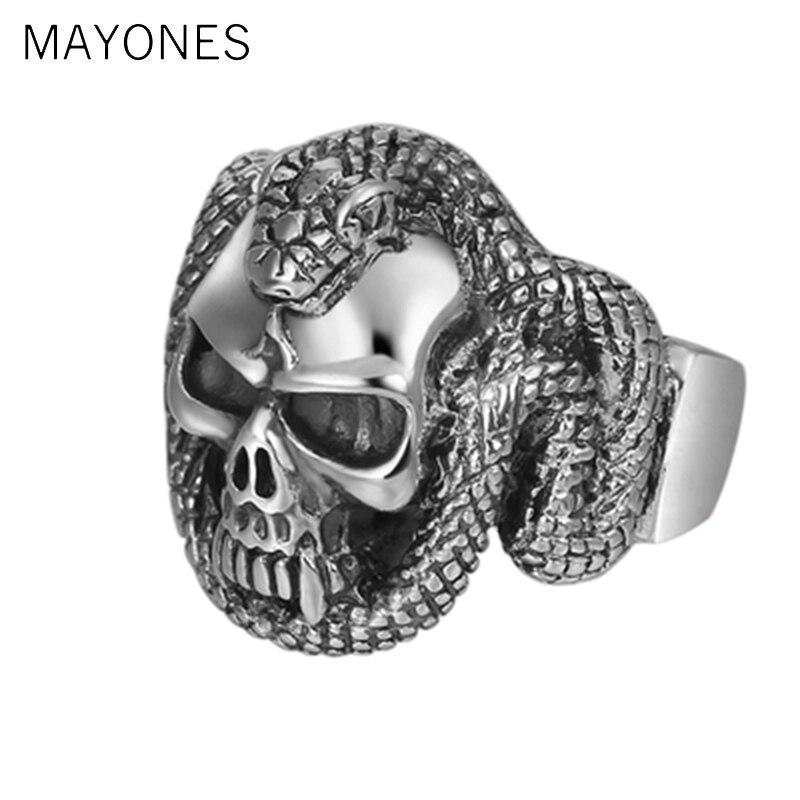 MAYONES Punk Rock Cool hombres calavera Cobra anillos patrón tallado a mano sólida plata 925 Plata tailandesa Vintage Joyería de Halloween