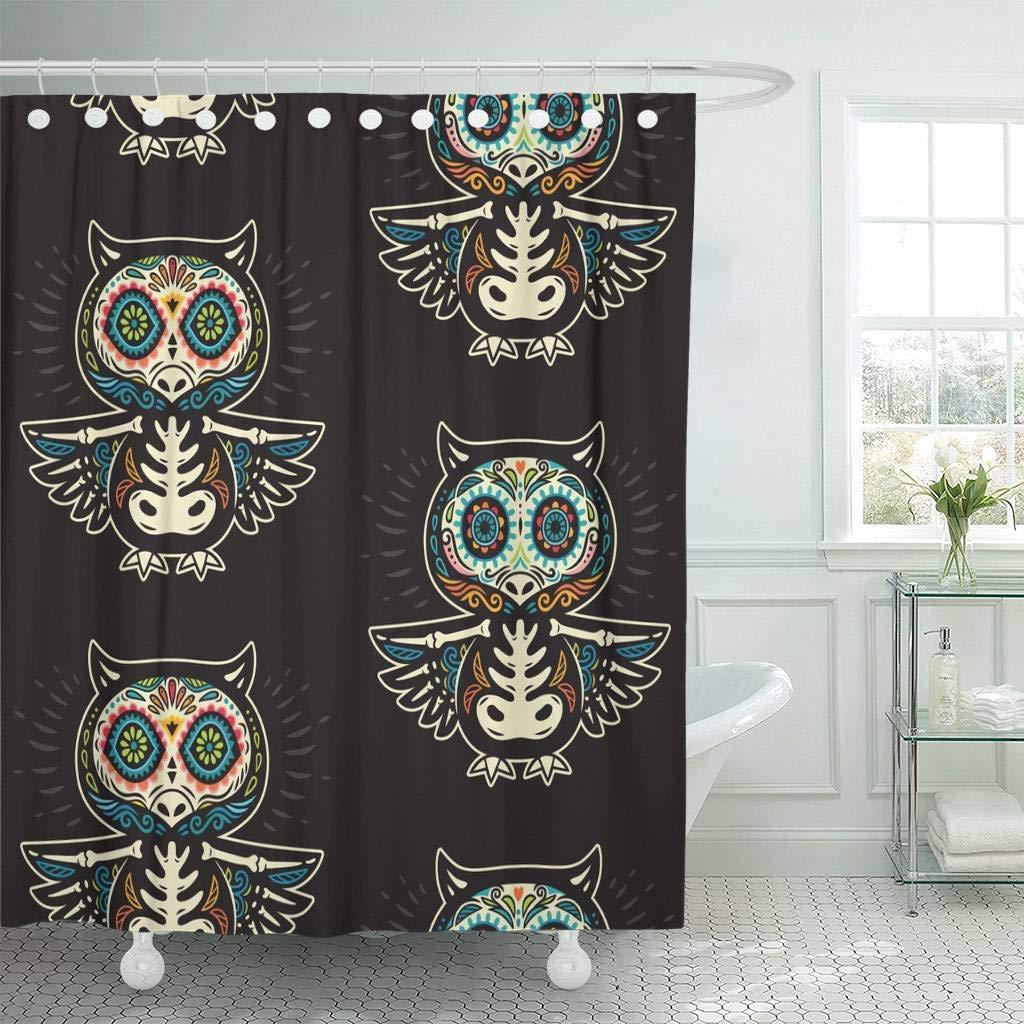 Cortina de chuveiro ganchos coloridos dos desenhos animados calaveras crânios da coruja do açúcar mexicano preto feriado dia de muertos banheiro decorativo