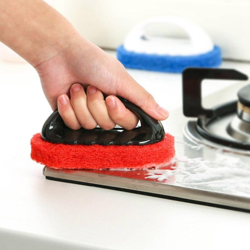 1 mango de la Herramienta para limpieza cepillos de limpieza esponja mágica cepillo para azulejos para ventana de baño Lampblack máquina suministros de cocina casera