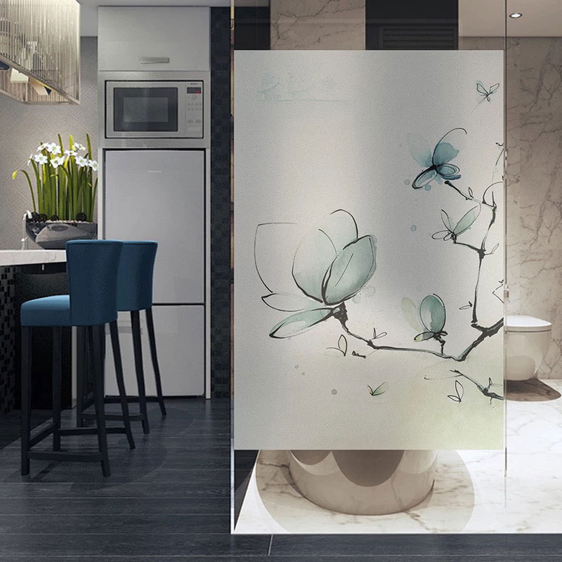 Стеклянная Наклейка на окно бабочки без клея статическая конфиденциальность пользовательский размер ванная комната раздвижная дверь Рожд...