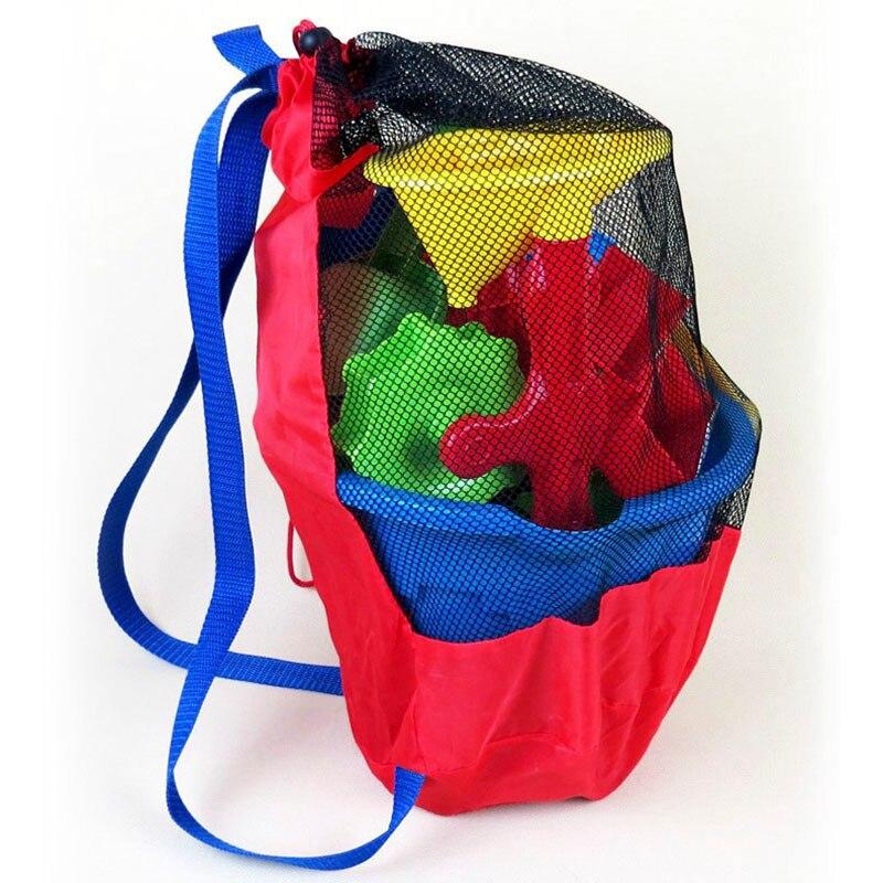 Sacos de armazenamento do mar do bebê portátil mochilas malha para crianças crianças praia areia brinquedos saco líquido água diversão esportes banho pano brinquedo