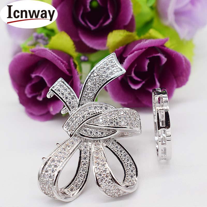 Incrustaciones de diamantes de imitación de oro y plata broches chapados 2,4*3 cm 3,9*4,5 cm bowknot para DIY pulsera collar envío gratis al por mayor