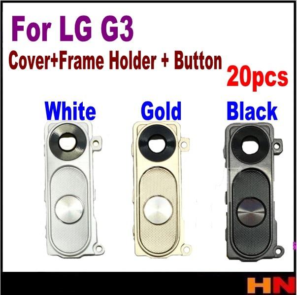 20 piezas para LG G3 G4 H810 H811 H815 F500 lente de cámara trasera Cámara Grande cubierta de cristal con marco con botón de reemplazo