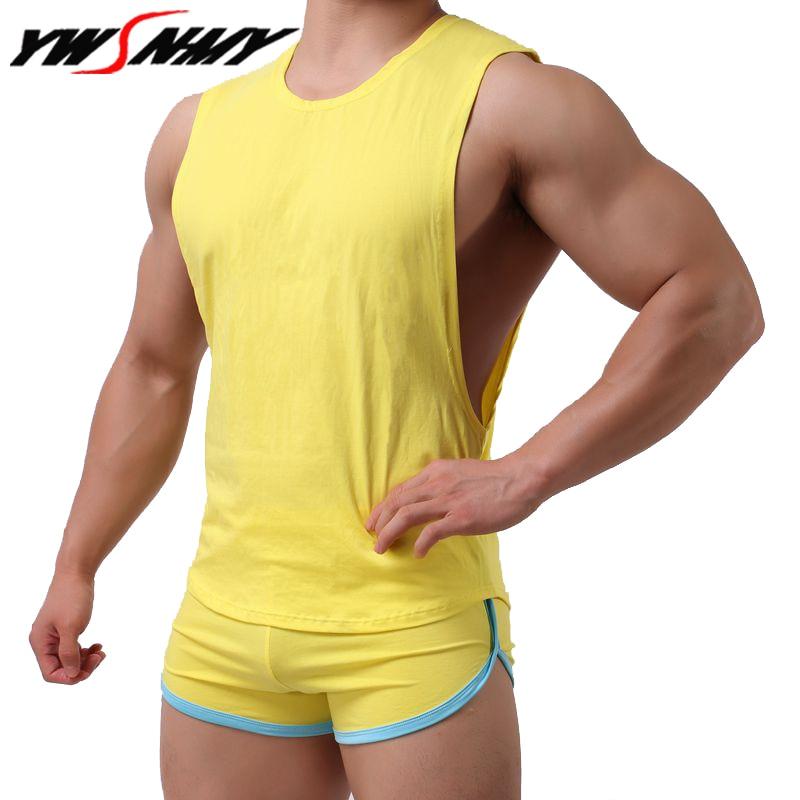 Heißer verkauf Mens Sexy Baumwolle Casual Tank Top Männer Ärmellose Tops Bodybuilding Unterhemden Homosexuell herren Low Cut Mode Lose westen sets