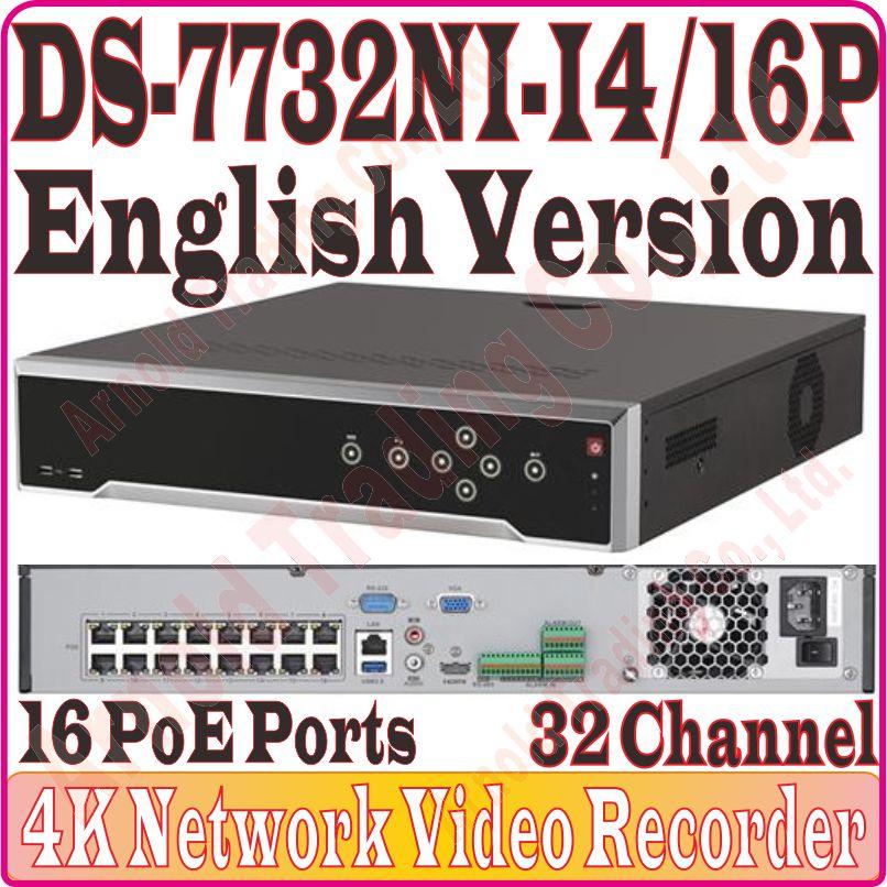 Inglés Ver DS-7732NI-I4/16 P 32CH 4K NVR cuatro SATA integrado Plug & Play 4K NVR con 16 POE H.265/H.264/MPEG4 1-ch HDMI 1-ch VGA