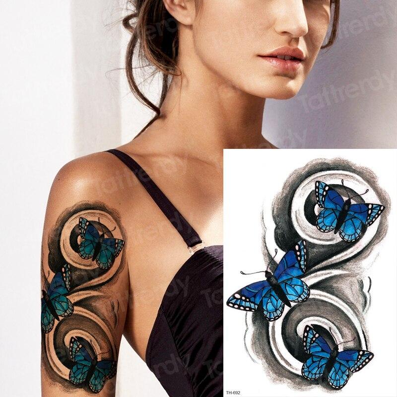Transferencia de agua tatuaje de robot para brazo manga mujeres tatuaje mariposa chica sexy tatuaje temporal resistente al agua tatuaje pegatina cubierta