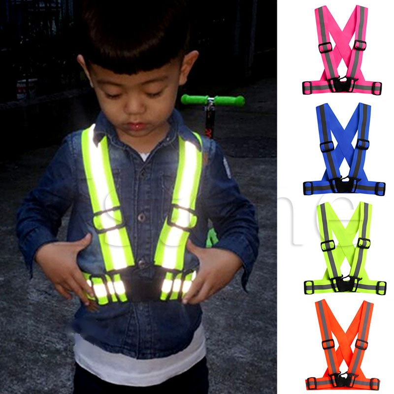 Kids Adjustable Safety Security Visibility Reflective Vest Gear Stripes Jacket
