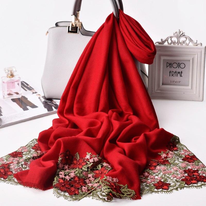 وشاح مطرز بالكرز الأحمر للنساء ، شال صوف 100% ٪ لحفلات الزفاف ، وشاح من البشمين ، وشاح من الصوف المطرز