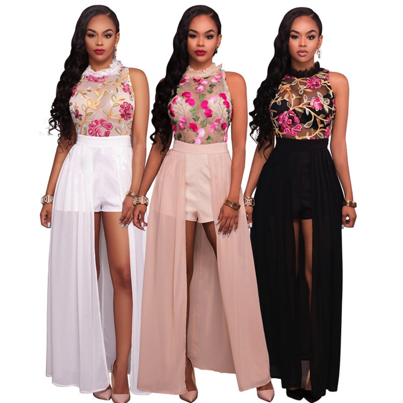 Women Elegant Long Jumpsuit Overalls 2019 New Fashion Sexy Sheer Mesh embroidery Summer Bodysuit Chiffon Club Party Romper
