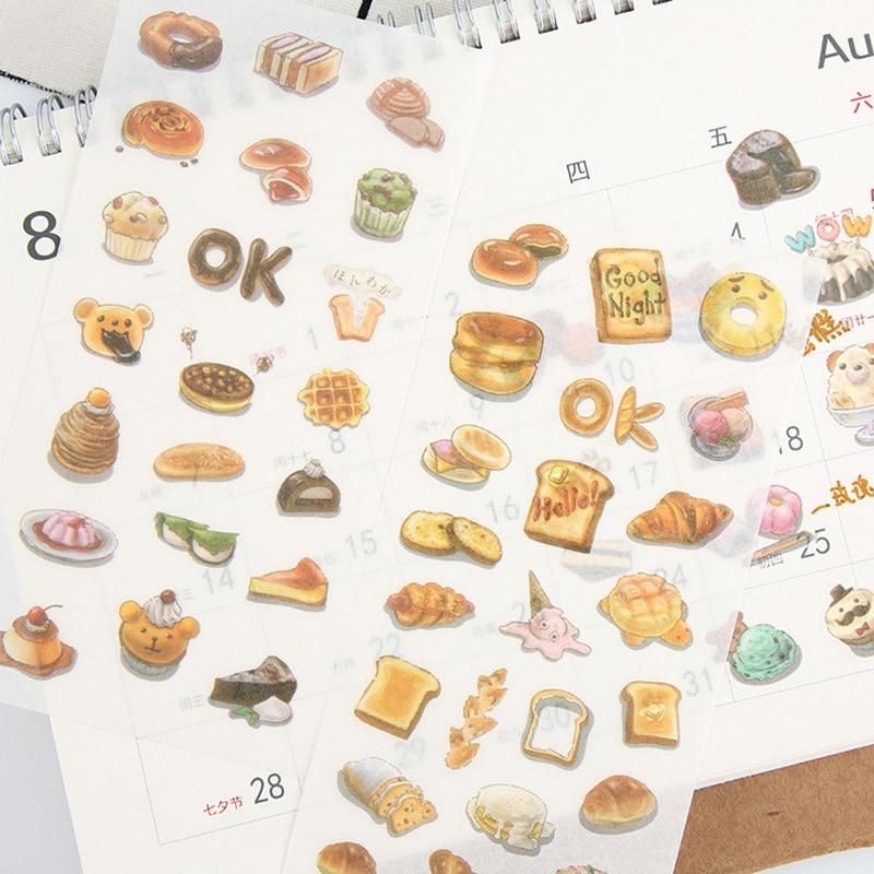 6 hojas/lote Delicious food Donuts papel adhesivo paquete DIY diario decoración pegatina álbum scrapbooking