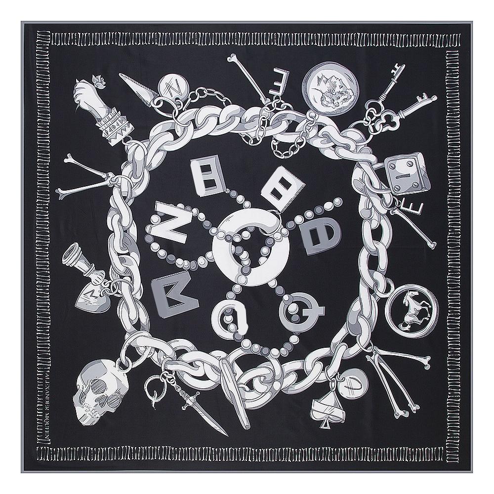 Pobing sarja lenço quadrado de seda feminino luxo espanha corrente crânio impressão cachecóis & envoltórios marca hijab foulard bandana grande lenço