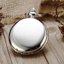 Retro Silber Quarz Taschenuhr mit Halskette Kette Mode Schwarz Glatte Steampunk Fob Uhren für Männer Frauen Reloj de bolsillo