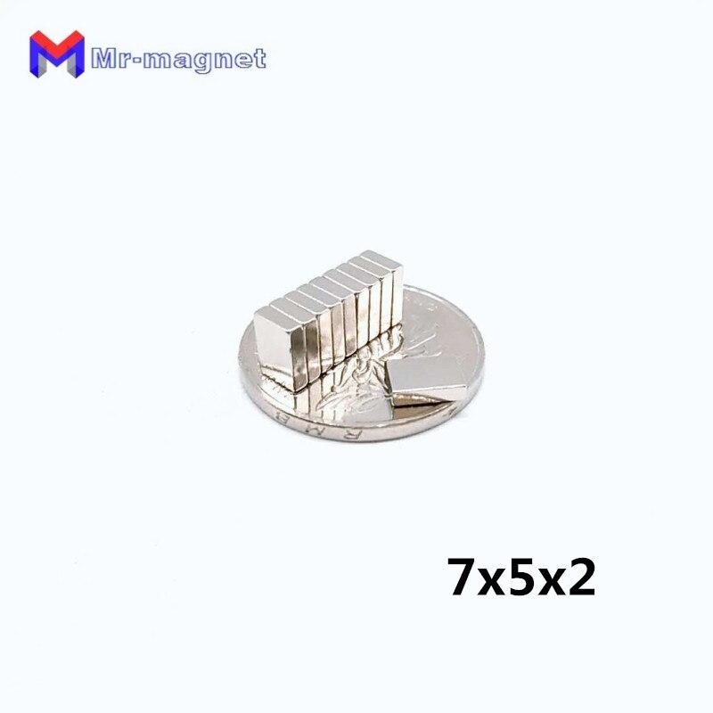 1000 Uds. Bloque magnético de neodimio pequeño superpotente de 7x5x2mm N35 NdFeB imanes magnéticos cuboides fuertes 7*5*2mm