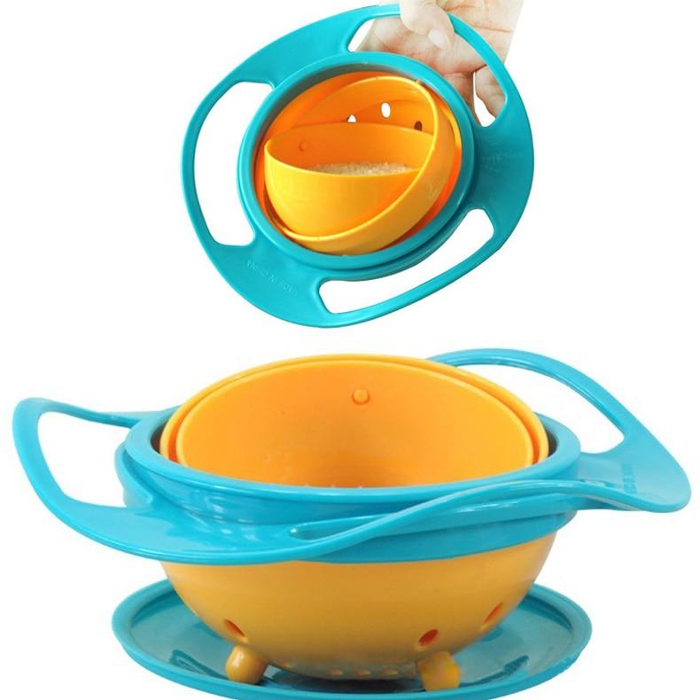 Promoción alimentación de bebé juguete Bol platos niños niño niña a prueba de derrames rotación Universal tecnología regalo divertido bebé accesorios 88 HG99