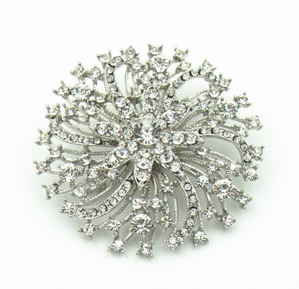 "Broche de tarta de boda 2,75 ""Vintage tono plata cristal brillantes transparentes Diamante"