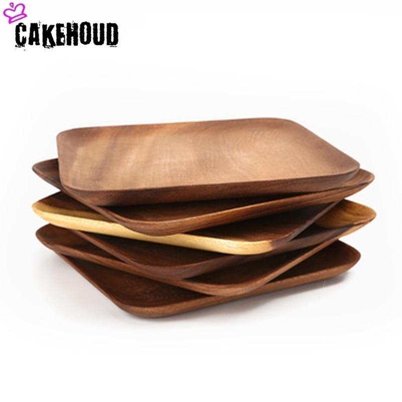 CAKEHOUD Solid Wood Plates Acacia Wood Fruit Dessert Coffee Salad Square Dish Tray Japanese Style Dinner Plates Rakolovka Plates