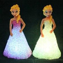 Anna Elsa zabawki Dolles Ice Snow Queen 7 LED kolor Baby Dolles zabawki podświetlane dla dziewczynek Baby Dolles zabawki dla dziewczynek