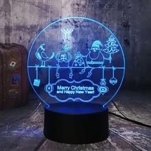 Happy New Year Santa Claus 3D LED RGB Night Light USB Baby Sleep Table Lamp Remote Home Decro Lustre Merry Christmas Kids Gift