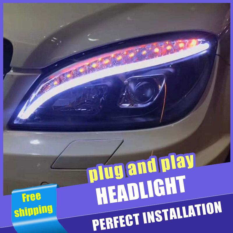 2PCS Car Style LED headlights for Benz W204 2007-2011 for W204 head lamp LED Lens Double Beam H7 HID Xenon bi xenon lens