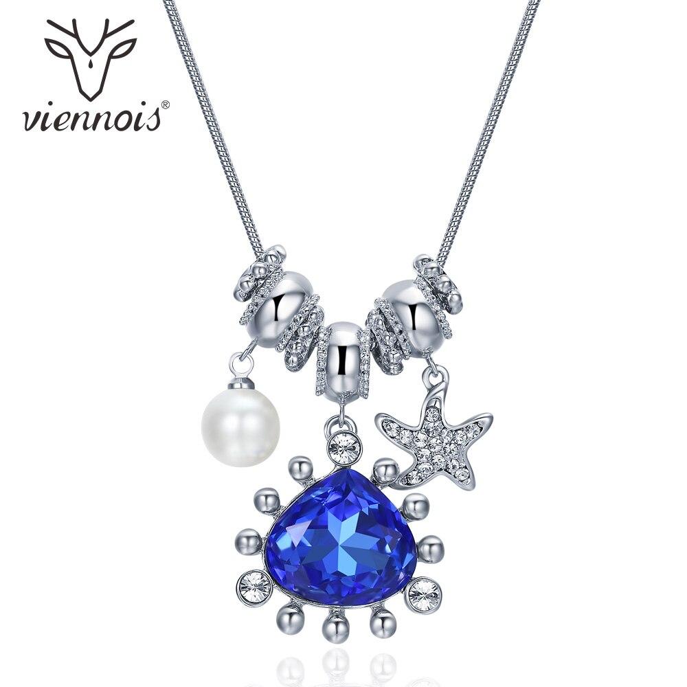 Collar de plata VIennois con perlas de imitación de diamantes de imitación OCéANO AZUL de cristal para mujer, joyería nupcial de boda