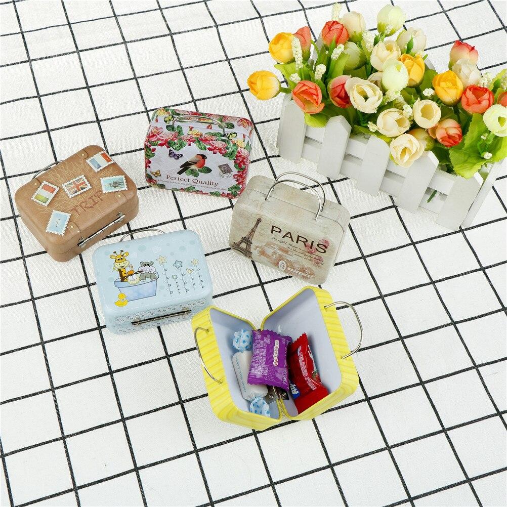 Mini caja de almacenamiento con estampado bonito de estaño, caja de almacenamiento con forma de equipaje Vintage, bolsa para monedas, caja para joyas, regalos para niñas 75x35x55MM