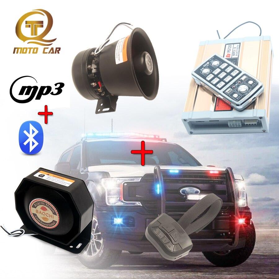 Wireless 12V Vehicle Speaker 200W Megaphone Tone Emergency MP3 Bluetooth Electronic Alarm Horn Police Siren for Car MIC System