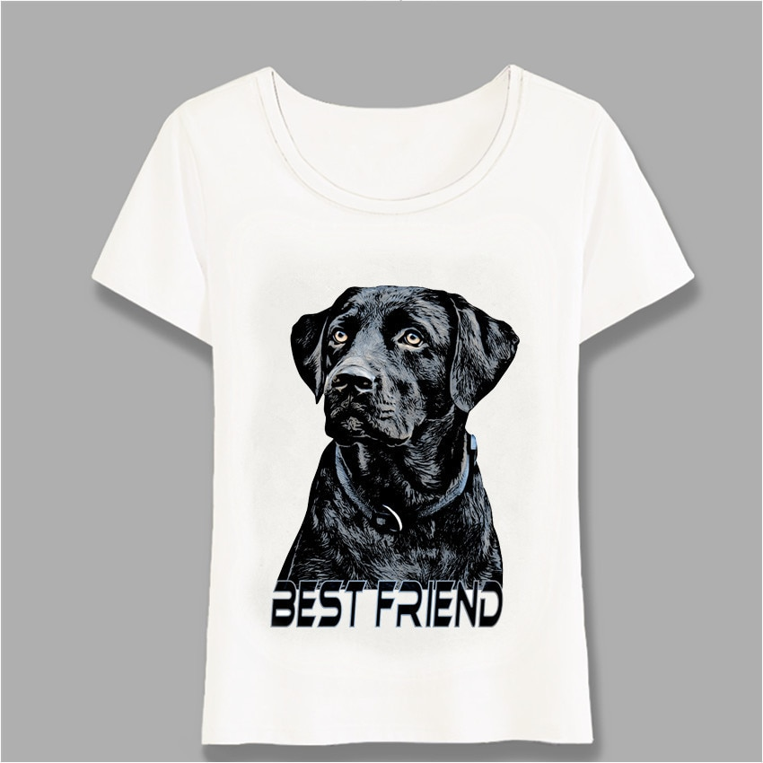 Dogs Are Best Friends-Labrador Retriever Printed T-Shirt Women T-Shirt Black Big Dog Design Casual Tops Girl White Tees Harajuku