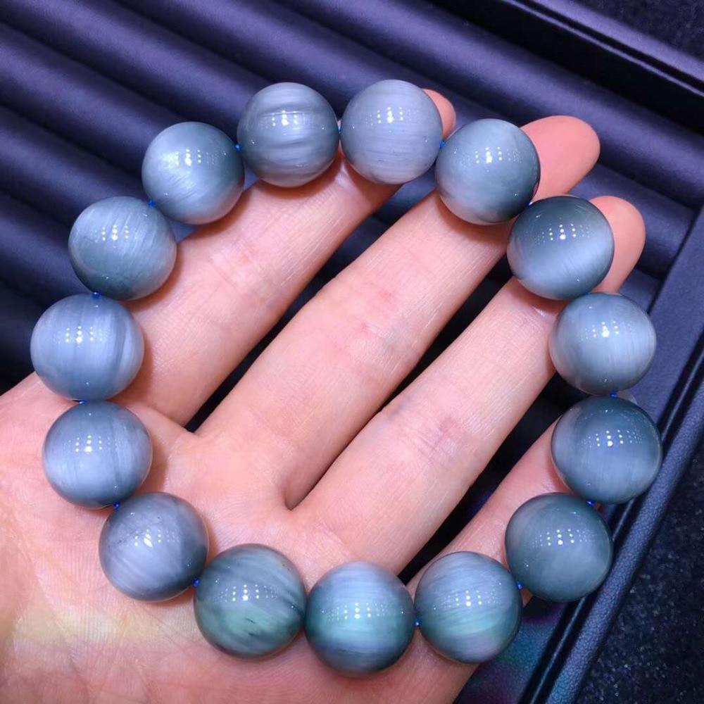 14.5mm prawdziwy naturalny niebieski Rutilated bransoletka z kryształu kwarcu brazylia okrągły koraliki kamień dla kobiety Lady prezent Cat Eye bransoletki