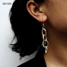 SHIXIN Punk couches longue épaisse cubaine lien chaîne goutte boucle doreille suspendus mode Boho moderne bijoux accessoires femme cadeau Brincos