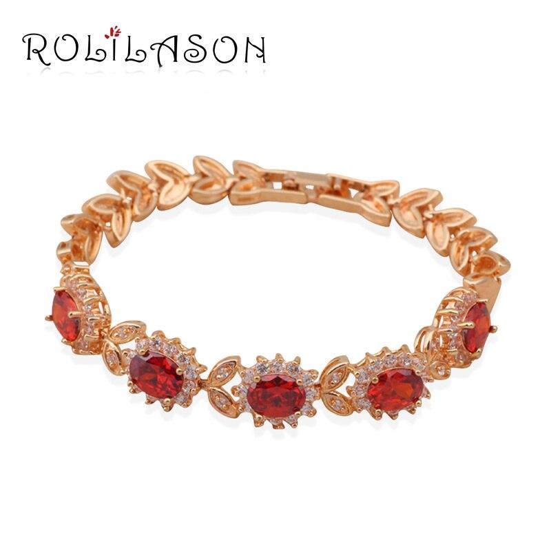 ROLILASON granate cristal AAA Zirconia oro tono encanto pulseras para mujeres salud níquel libre de plomo joyería de moda TB421