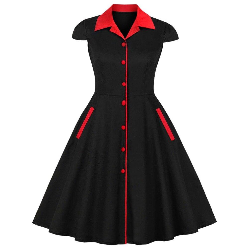 Mujeres Midi Vintage vestido elegante algodón Mujer Casual túnica negro rojo Patchwork moda 1950 s Hepburn Retro fiesta dulce vestidos