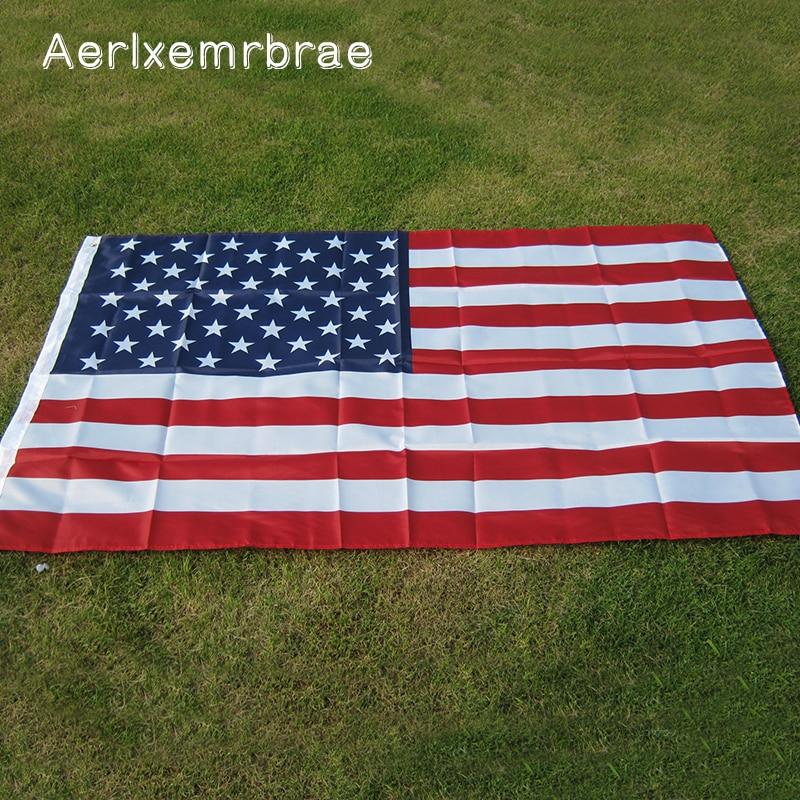 Флаг aerxemrbrae 150x90 см, флаг США, высокое качество, двусторонний Печатный полиэстер, американский флаг, люверсы, флаг США