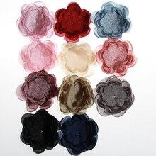 5 шт., женские атласные шифоновые цветочные аксессуары для волос, 10 см, 3,9 дюйма
