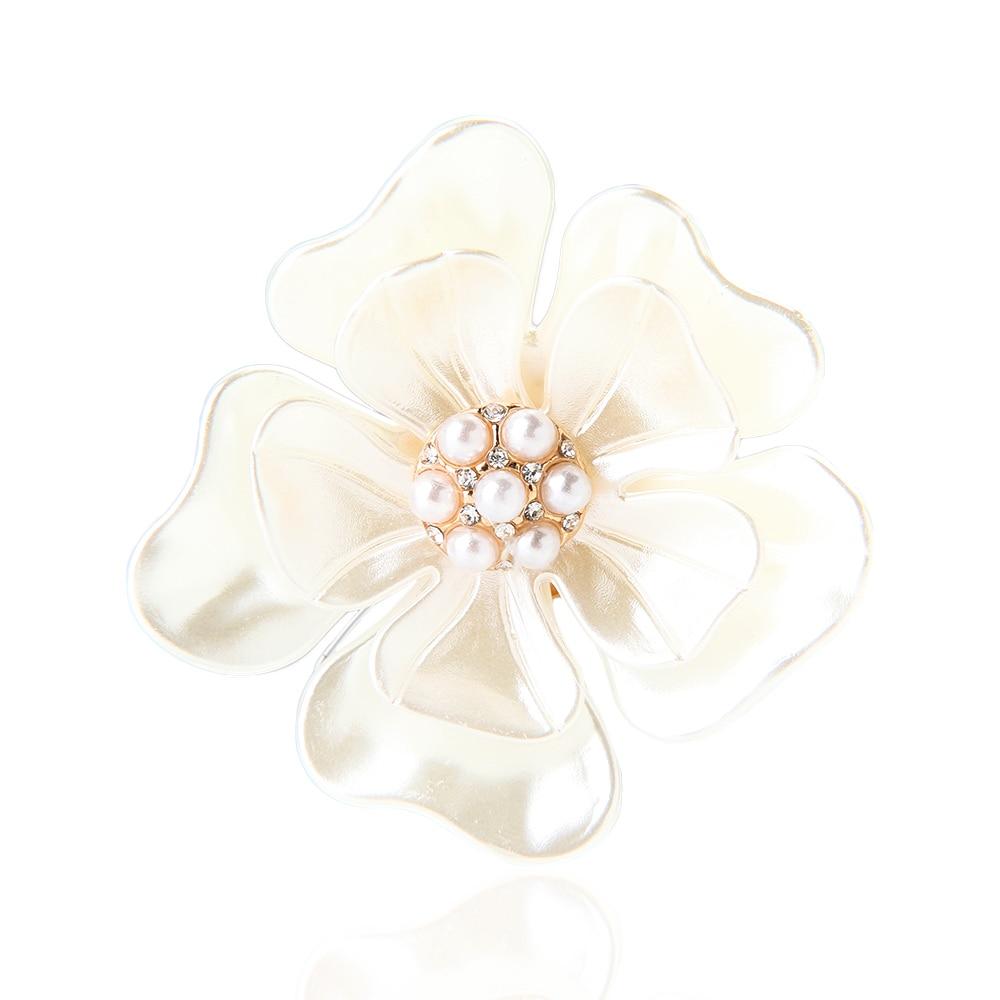 De accesorios de joyería elegantes de moda para mujer, broches blancos con forma de flor de Camelia, broches de bufanda, accesorios de ropa de moda 1 Uds.