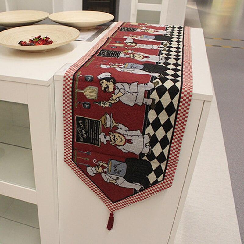 De algodón de mesa de lino de dibujos animados chef patrón mantel paño de Piano aislamiento mat casa decoración 33*180 cm