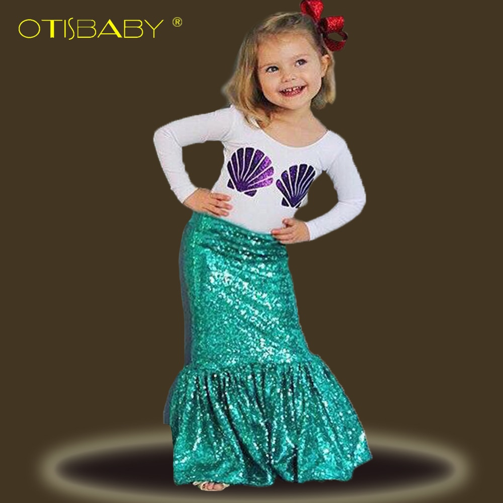 Комплекты одежды с русалочкой для девочек, фиолетовые футболки с длинными рукавами и зеленые юбки Ариэля, праздничные платья для детей ясел...