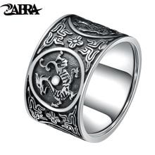 ZABRA Sterling Silver 999 Ring Men Vintage Men Rings Chinese 4 Creatures Dragon Tiger Bird Turtle Punk Rock Biker Silver Jewelry