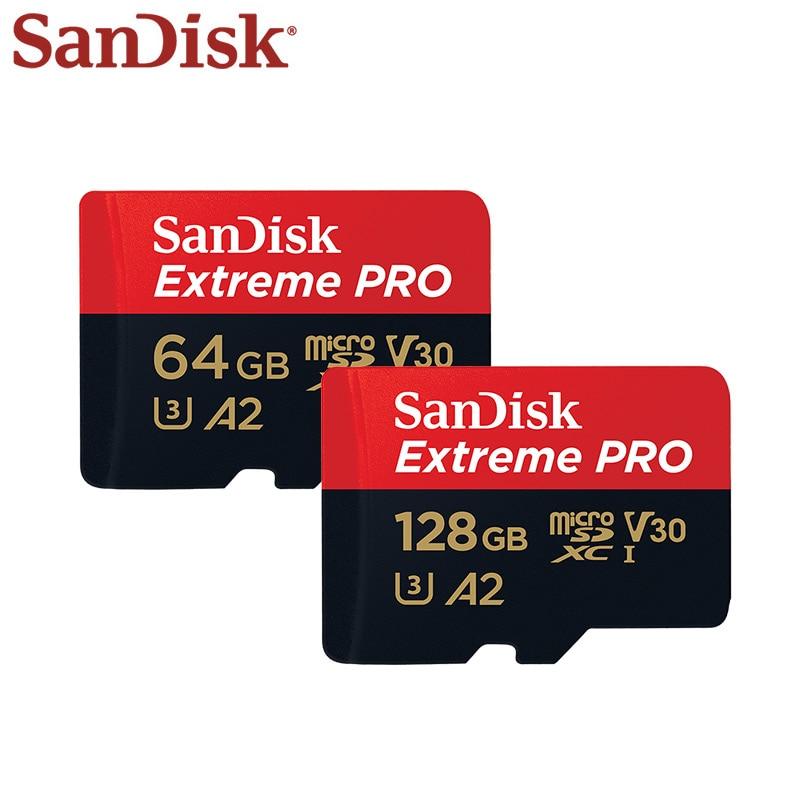 Original SanDisk Extreme Pro Micro SD Karte Bis zu 170 MB/s 128GB 64GB A2 V30 U3 TF Karte 32GB A1 Speicher Karte Mit SD Adapter