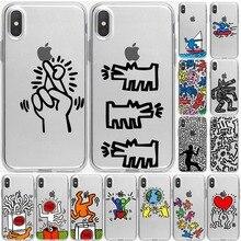Abstrait Keith Haring Drôle Simple étui en silicone funda Pour iPhone 6 6S 7 8 Plus 5 5S SE x XS Max XR Mignon coque de téléphone