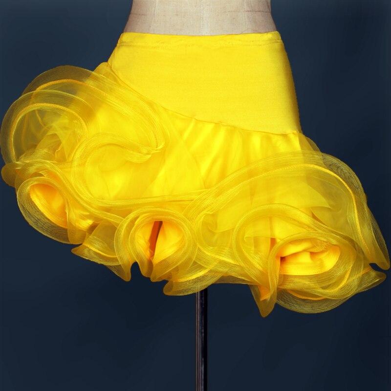 Falda de baile latino para adultos en venta rojo naranja Cha/Rumba/Samba/Tango vestidos para la práctica de baile Performamnce Ropa de baile