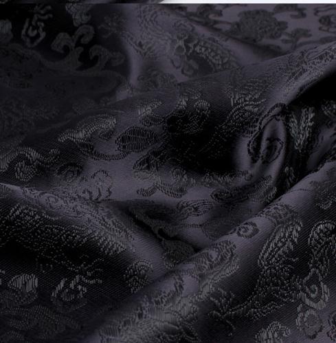 Disfraz de cheongsam de tela de Damasco de 90cm x 100cm tela de brocado-fondo negro dragón negro