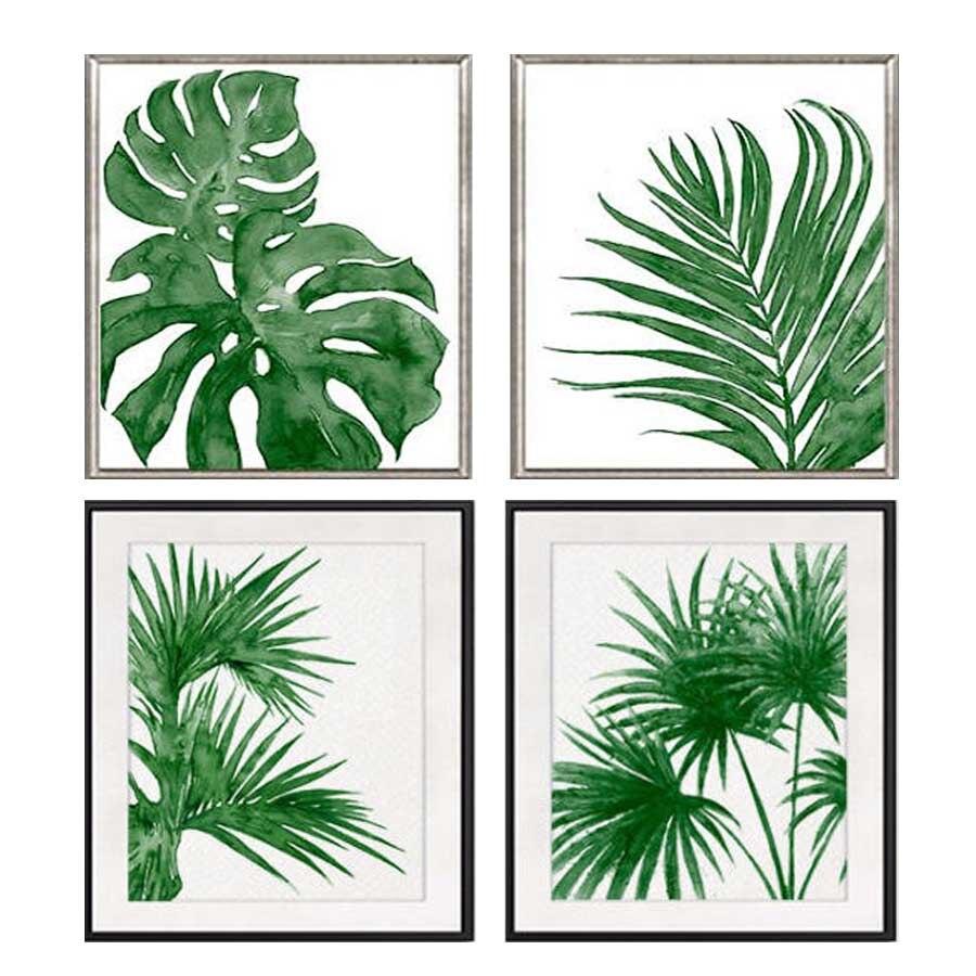 2 pcs/set,Full square Diamond Painting Cross Stitch Green decor,tropical art, palm leaf,5D Diamond Embroidery Mosaic stickers