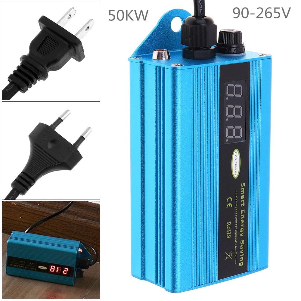 Caja de ahorro de electricidad monofásica de 50 kW, Factor de potencia de 90-265V, ahorrador de energía, ahorrador de electricidad, asesino de facturas con enchufe europeo/estadounidense