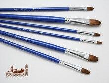 6 pièces/ensemble fouine cheveux ongle forme acrylique brosse bleu accrocher doré queue bois tige huile peinture pinceau dessin stylo livraison gratuite