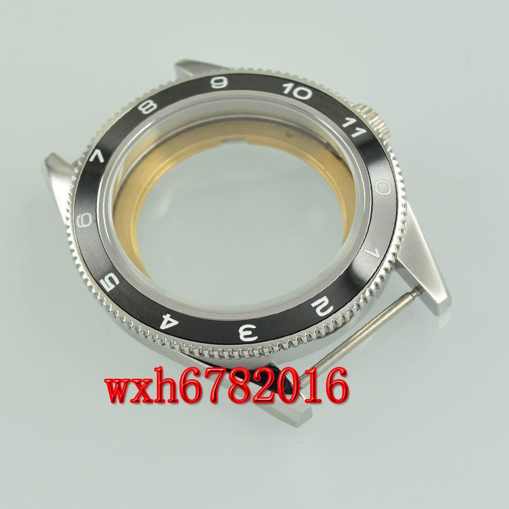 41mm negro cerámica bisel zafiro vidrio acero caso ajuste ETA 2824 2836 movimiento