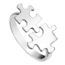 Kinitial Unique jouet brique Puzzle anneau ouvert réglable Encircle bijoux anneau or pour les femmes anillos mujer cadeau