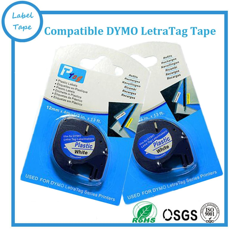 10PK 12mm * 4 m Preto No Branco barato Plástico Letratag impressora Fita Compatível Dymo Letra Tag LT 91201
