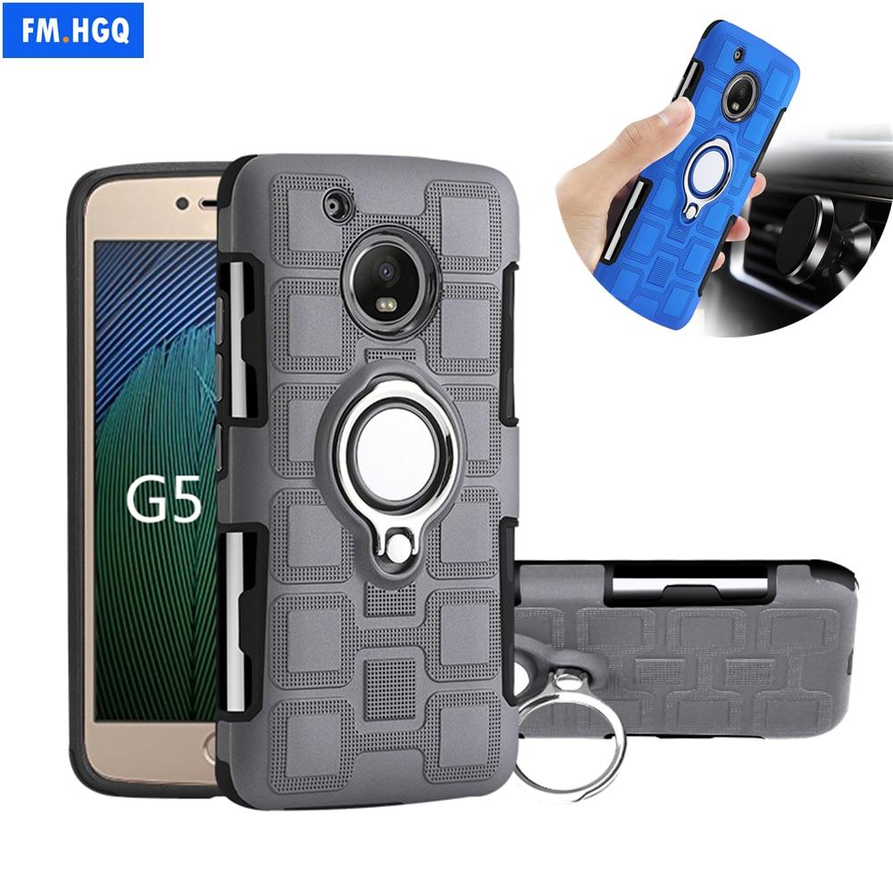 Carcasa para Motorola MOTO G5 G5S, carcasa con anillo de Metal y soporte de TPU + PC 2 en 1, carcasa de montaje Coche magnético para Motorola MOTO G5 G5S Plus