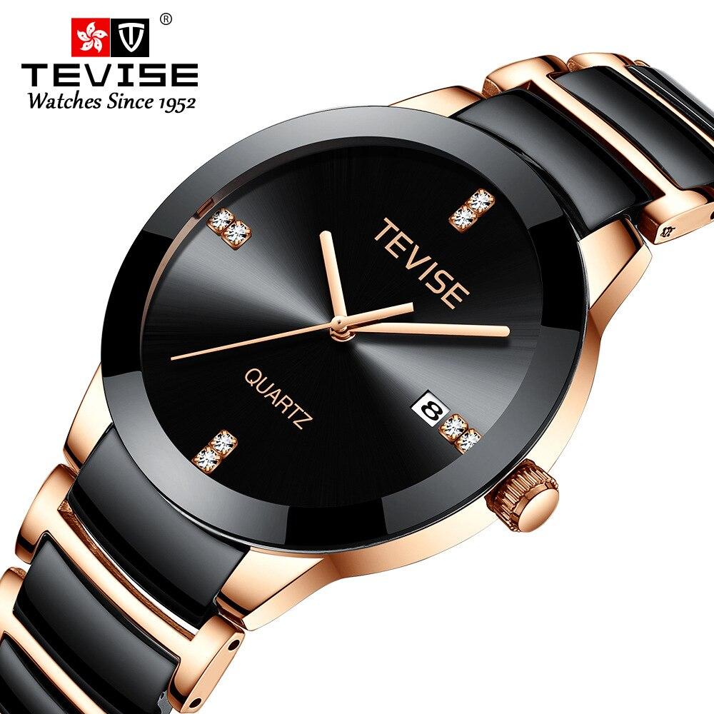Tevise relógios masculinos marca de luxo moda cerâmica esportes quartzo relógios para masculino à prova dwaterproof água relógio pulso relogio masculino